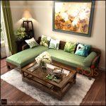 Sofa gỗ đẹp phòng khách chung cư