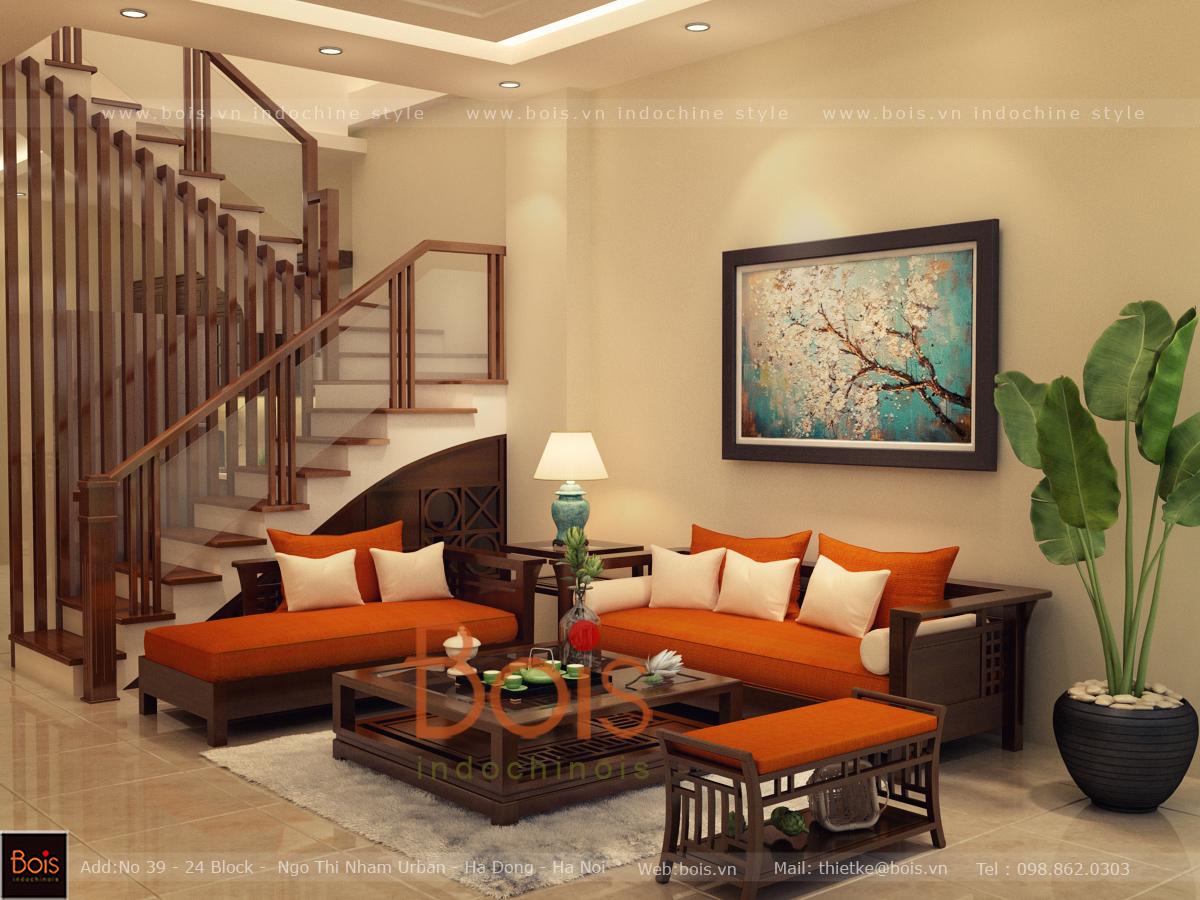 Thiết kế phòng khách nhà liền kề KĐT Mỗ Lao 2