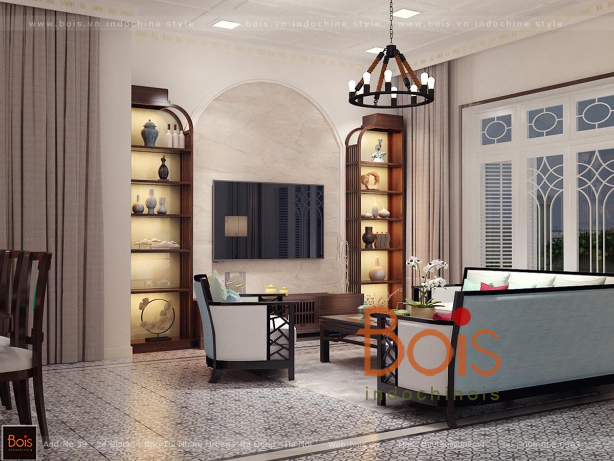 Thiết kế nội thất phòng khách phong cách resort