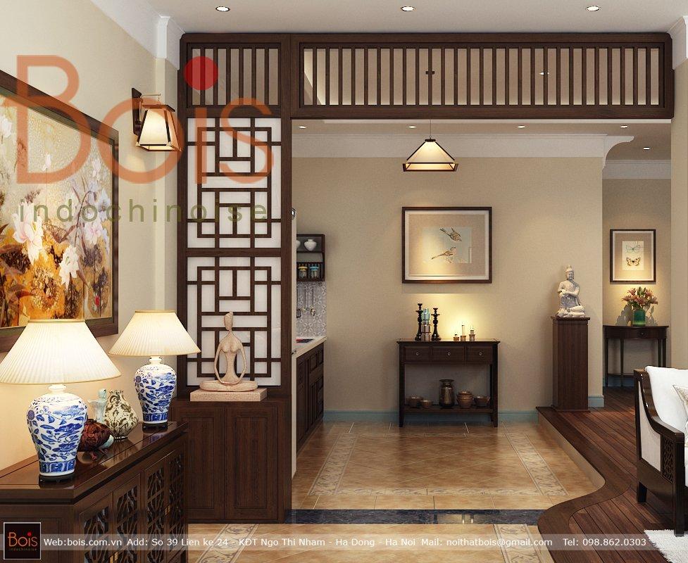 Vách ngăn phòng gỗ phù hợp với nội thất Grand bois trong thiết kế phong cách Đông Dương