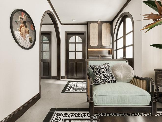 """Sinh sống ở khu phố cổ nhiều năm, chủ nhà đã quyết định mua căn hộ sát vách để nối thông và """"lột xác"""" nó bằng thiết kế nội thất theo phong cách Indochine với vật liệu chủ đạo là tre, nứa và gỗ."""